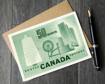 Canadian textile industry, sewing birthday cards, quilting christmas cards, spinning retirement cards, textile art canada, vintage canadiana