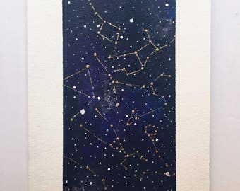 Night Sky Painting with Gold Constellations