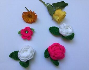 Crochet flowers, crochet rose appliqués, set of four flower appliqués, rose appliqué