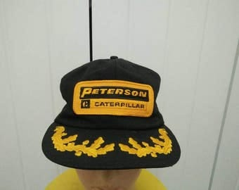 Rare Vintage PETERSON CATERPILLAR Patch Spell Out Cap Hat Free size fit all