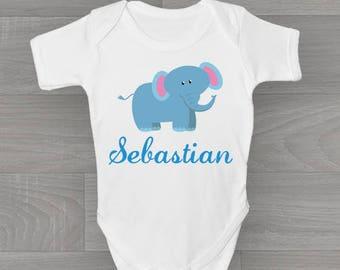 Personalised Boys Elephant Baby Grow, Cute & Unique Safari Zoo Animal Bodysuit Baby Onesie Gift.