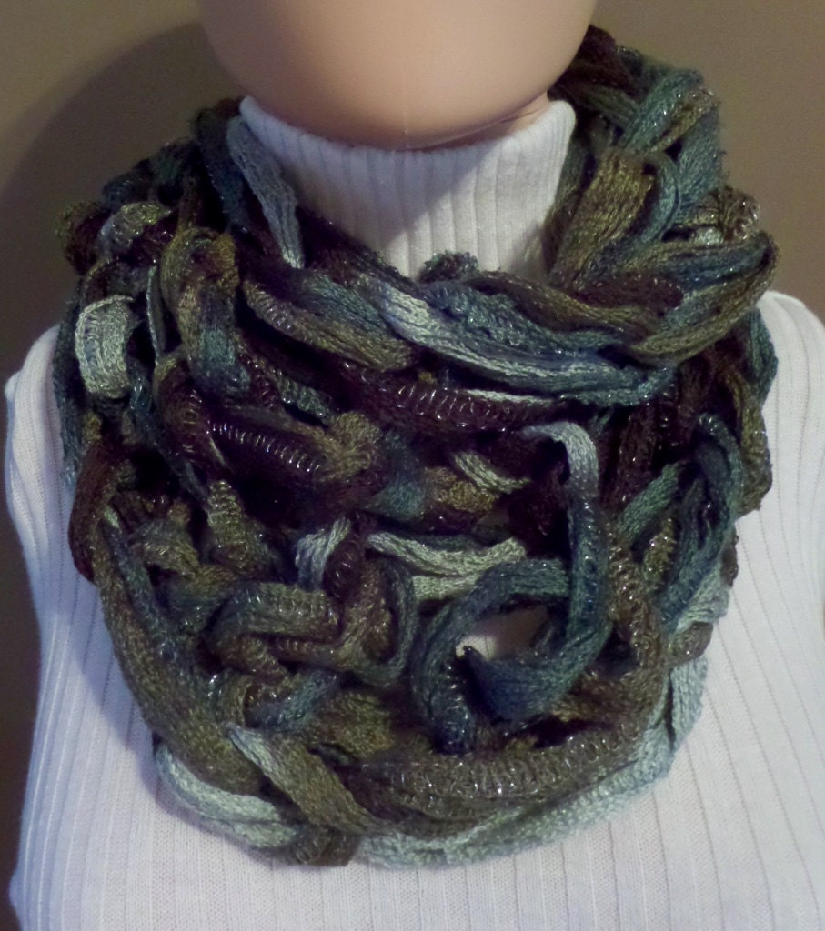 Infinity Scarf Knitting Pattern Bernat : Brown/Gray/Green Shimmer One-of-a-Kind Hand-Knit Infinity ...