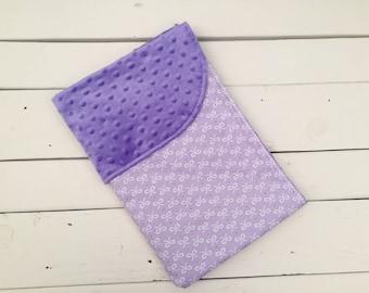 Purple Bow Baby Minky Blanket, Purple Baby Blanket, Bow Baby Blanket, Purple Minky Blanket, Purple Baby Blanket