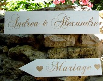 Lot de  panneaux en bois peint pour mariage.Pancartes personnalisables .Flèches mariage.Decoration mariage Custom wood wedding sign