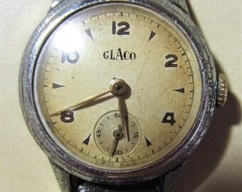 Ladies 1940's Swiss SS Glaco 15 Jewels Mechanical Watch + Sub Dial Art Deco Vintage
