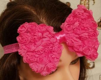 Chiffon Rosette Bow - Pink - Headband
