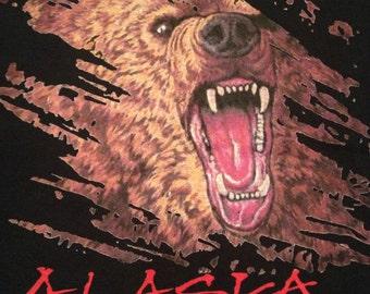 Vintage 90s NWT Alaska brown bear BITE ME! t-shirt size Large