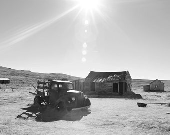 California Gold Rush Bodie Ghost Town Photo Black and White Landscape Photo Abandoned Old Car Wall Art Mid Century America Wild West Art