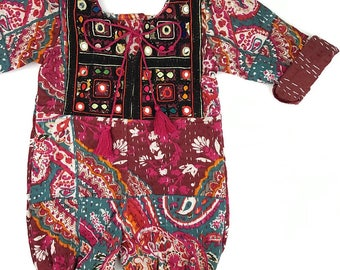 2T Heirloom kantha roll up rompers, Vintage Style Baby clothing, Boho romper, Hippie baby, Shower gift, Bohemian Baby clothing