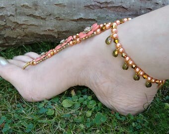 Barefoot Sandals, Foot Jewellery,  Barefoot Wedding, Barefoot Jewelry, Alternative Footwear, Anklet, Gypsy Shoes, Flower Barefoot Sandals