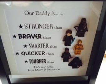 Personalised Star Wars framed picture,perfect gift for fathers day or a birthday gift  for dad,son or grandad,complete with 5 minifigures