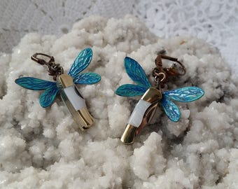 Miniature Knife Earrings, Unique Hand Painted Colorful Dragonfly Earrings, Original Knife Jewelry, Stunning Dragonfly Knife Earrings For Her