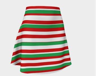 Christmas skirt - holiday skirt - women's holiday clothing - stripped skirt - christmas clothing - xmas skirt - christmas party skirt