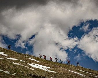 DIGITAL DOWNLOAD - When we rise, ascent to heaven, trekking, trek, clouds in the sky, Team, mountains, Germany near munich, Bavaria