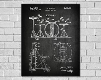 Drummer Gifts - Drummer Art - Drum Decor - Drum Set - Drum Blueprint - Drum Poster - Drum Wall Art - Drum Patent Picture - MD283