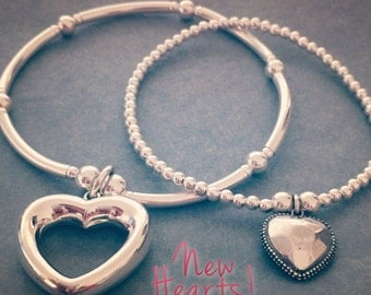 Sterling Silver Stack of Two New Heart Charm Bracelets