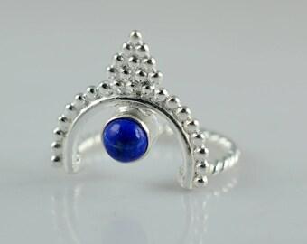 Genuine Lapis Lazuli 925 solid sterling silver hand made designer Midi ring custom sizes 3 to 14 (US)