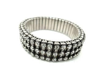 Vintage 1950s Bracelet   Diamante Bracelet   Rhinestone Bracelet   Concertina Bracelet   Stretch Bracelet   Rhinestone Bracelet   Bracelet