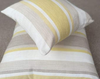 Limited Edition, Daffodil Spring Collection, Yellow, Grey, Striped Cushion, Floor Cushion, Cruelty Free Duck Feather, Insert Included