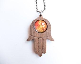 Planet Venus Hamsa God's Hand Custom Pendant Necklace