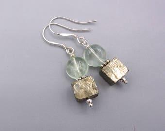 Fluorite Earrings - Pyrite Earrings - green Fluorite Earrings - simply Earrings