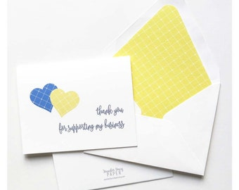 Chloe and Isabel Thank You Cards - Thank You for Supporting My Business - Referral Thank You - Blue and Yellow Argyle Hearts