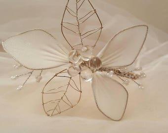 Handmade White Flower Fascinator