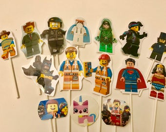LEGO the Movie cupcake toppers. (16) Lego cake toppers. Birthday party supplies.
