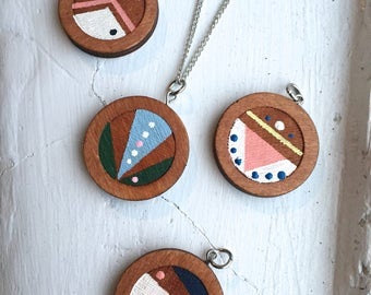 Painted Wooden Pendant Necklace
