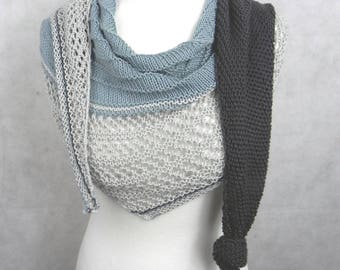 knitted shawl scarf cotton MIX grey Blau summer cloth