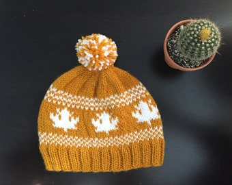 Beanie Hat // Knit Hat // Adults // Maple Leaves // Heart Hat // Hand Made // Teens // Sweater Weather // Pom Pom // Hand Knitted
