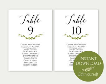Wedding Seating Chart Template, Seating Cards, Seating Chart Sign, Seating Chart Template, Editable Seating Chart, PDF Download, Greenery