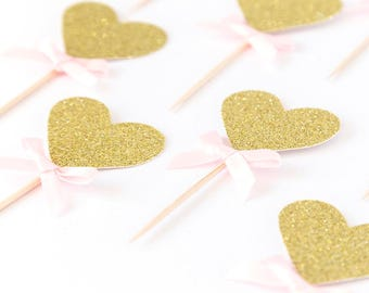Heart cupcake toppers. First birthday party. Valentine's.  Love. 10 Party cake toppers. Gold glitter. Bow. cupcake toppers.