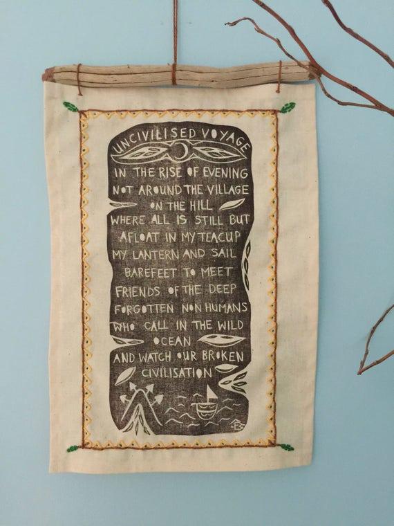 Uncivilised Voyage Linoprinted Wall-hanging Poem
