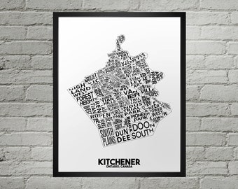 Kitchener Ontario Neighbourhood Typography City Map Print