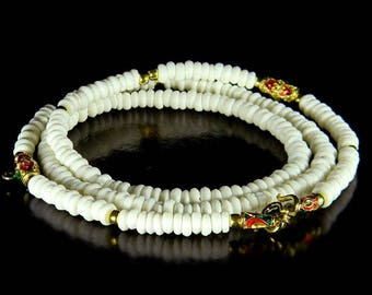 Rare Tribal White bead Amulet Necklace, Ethnic Red Green Enamel Cylinder Gold Bead Shaman Amulet Tribal Necklace 28 inches #9055