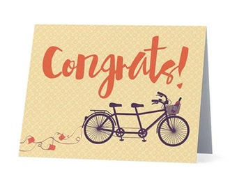 CONGRATS (bicycle) |  Wedding card