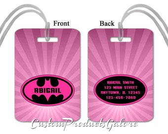 Batgirl Luggage Tag, Personalized Luggage Tag, Suitcase Bag Tag, Fun Luggage Tag