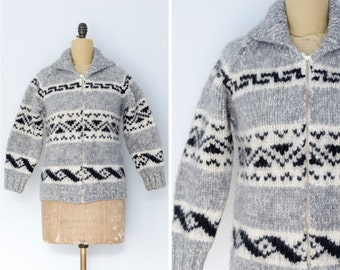 Cowichan Sweater with Geometric Design // Made in Canada - Women's XS/S