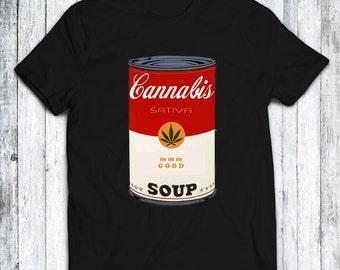 70's Show Cannabis Soup - Campbell Soup Parody TShirt - Black - White - Red - Sizes XS - S - M - L - XL - XXL - 3XL - 4XL