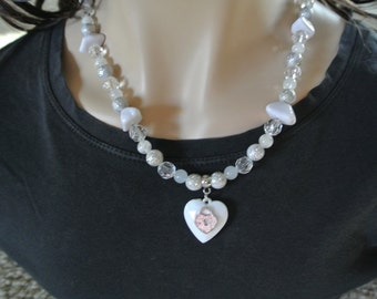 necklace antique plastic heart charm and white plastic bead