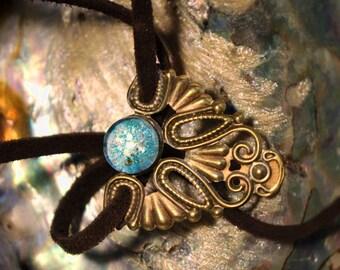 Bronze necklace - blue universe stone