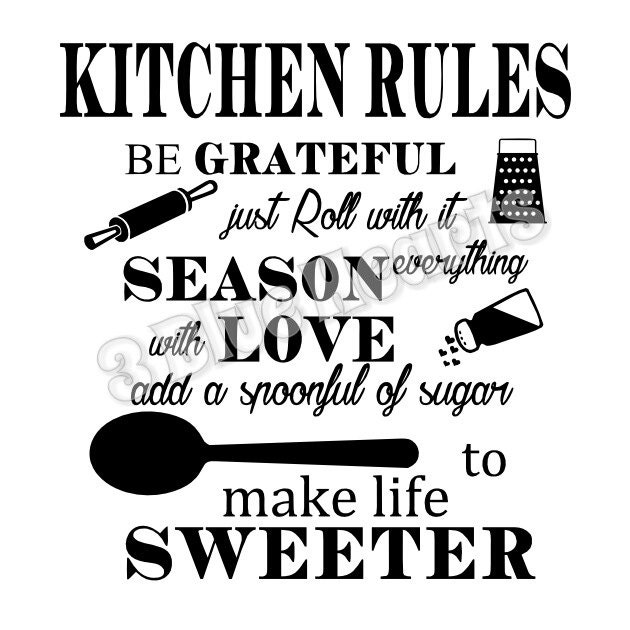 Kitchen Design Rules: Kitchen Rules SVG Dxf Pdf Studio Cutting Board SVG Dxf Pdf