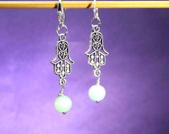 Hamsa and Green Cat's Eye Knitting or Crochet Stitch Marker, Gift for Knitters, Knitting Tools, Crochet Tools, Buddhist