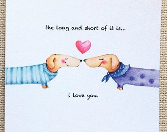 Love Card, Anniversary Card, Cute Anniversary card, Cute Love Card, Dog Card, Cute Dog Card, Cute Dachshund card