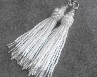 Seed bead white bridal tassel earrings