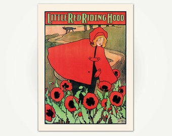 Little Red Riding Hood Vintage Chilren's Book Illustration Print