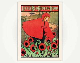 Little Red Riding Hood Vintage Chilren's Book Illustration Print