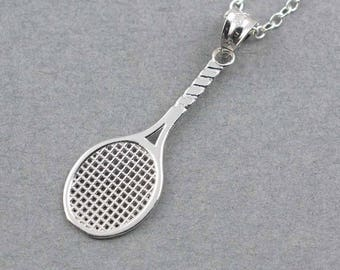 Tennis racquet charm in sterling silver