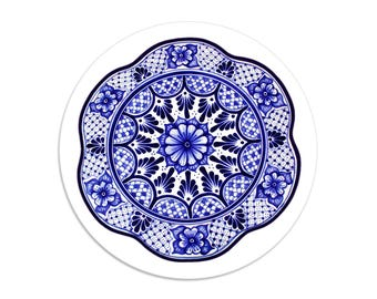 Blue Talavera sticker seals - 1.5 inch round stickers - pack of 8